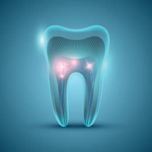 Abstract futuristic tooth structure on blue background, dental banner design