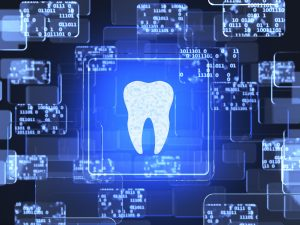 Future technology blue touchscreen interface. Tooth icon screen