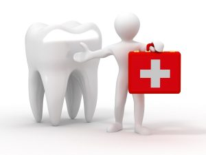 Men with medical case and tooth. Dentist. 3d